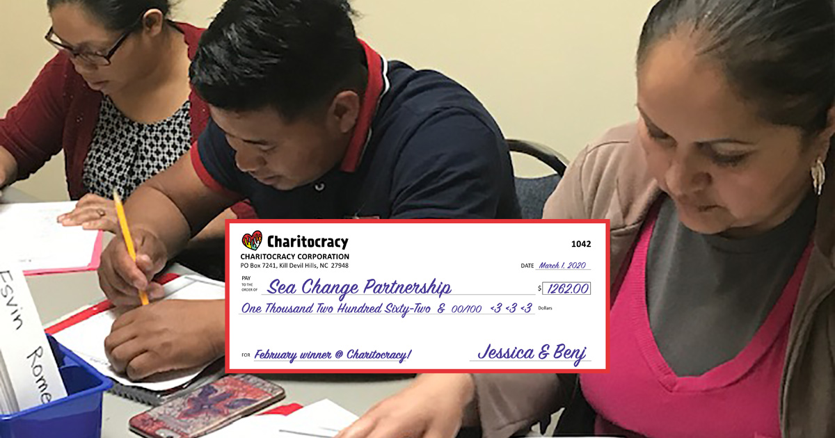 Charitocracy's 42nd check to February winner Sea Change OBX for $1262